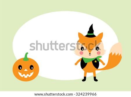cute fox and pumpkin lantern halloween tag