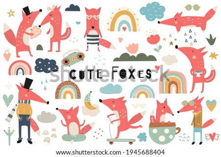 Cute fox clip art – boho set of cartoon foxes and graphic design elements.  Foxes, rainbow, hearts. Clipart isolated on white background. Vector illustration.