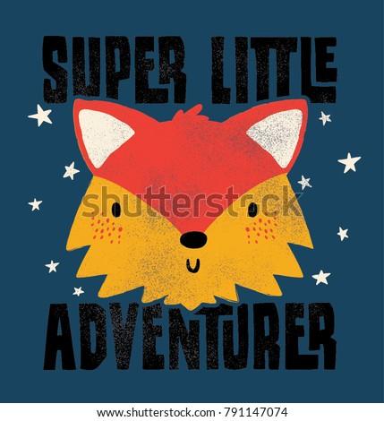 Stock Photo cute fox face drawn as vector