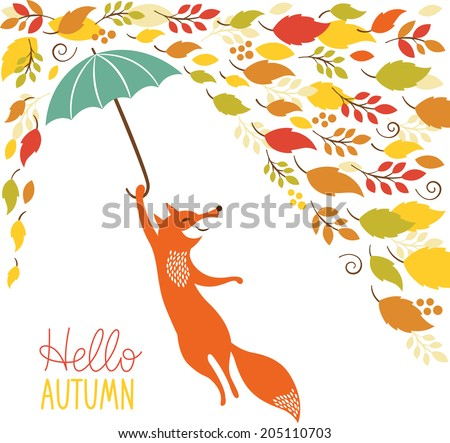cute fox fly with umbrella