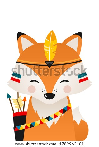 Cute fox have headdress with feathers on head. Woodland forest animal. Cartoon apache fox. Design can be used for kids apparel, greeting card, invitation, baby shower. Vector illustration.