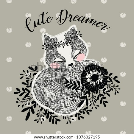 Cute fox illustration.