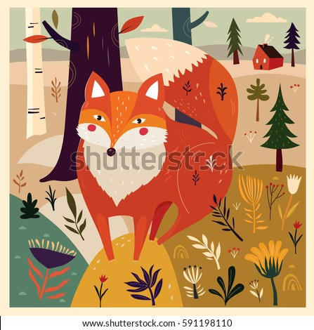 Cute fox in forest. Vector illustration