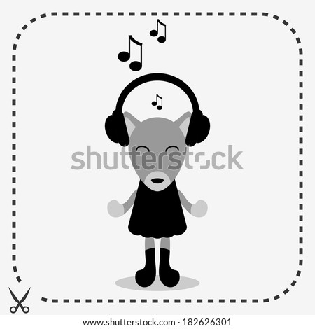 Cute fox in headphones listening to music