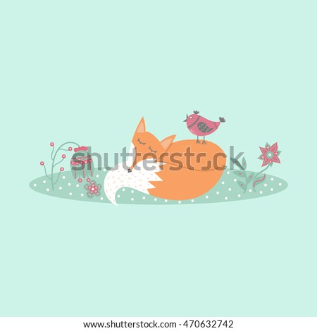 cute fox lies on lawn in forest