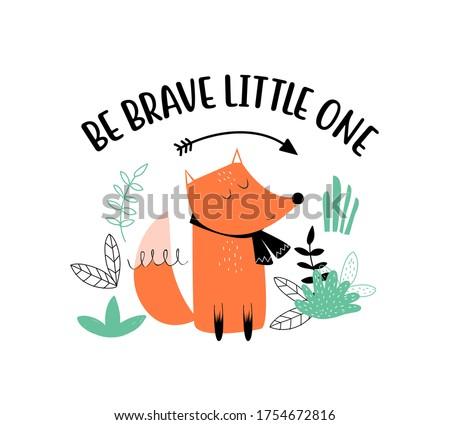 Cute fox print design with slogan. Vector illustration design for fashion fabrics, textile graphics, prints. Stock foto ©