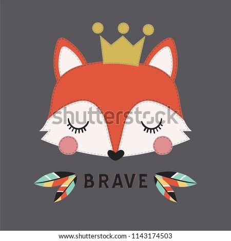 Cute fox vector. Can be used for kids or babies t shirt design. Fashion graphic illustration. Cartoon animal print.