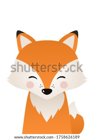 Cute fox. Woodland forest animal. Poster for baby room. Childish print for nursery. Design can be used for fashion t-shirt, greeting card, baby shower. Vector illustration. Сток-фото ©