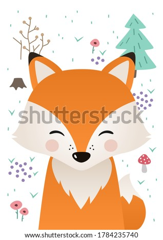 Cute fox. Woodland forest animal. Poster for baby room. Childish print for nursery. Design can be used for fashion t-shirt, greeting card, baby shower...Vector illustration.