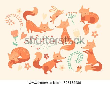 cute foxes vector set eight