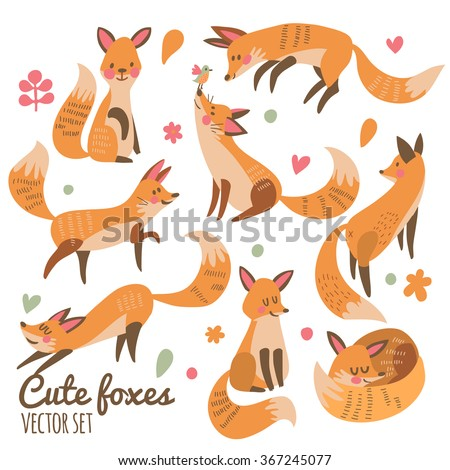 cute foxes vector set eight