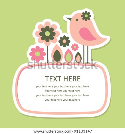cute frame design with bird. vector illustration