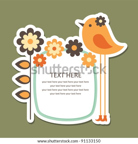 cute frame design with bird