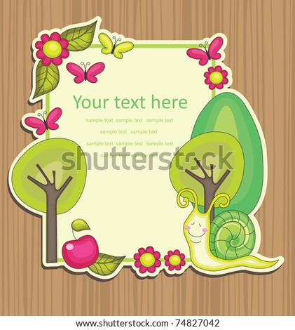 cute frame design with snail. vector illustration - stock vector