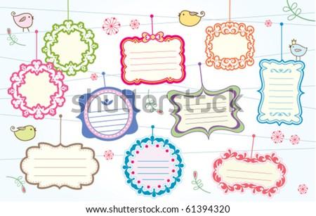 cute frames collection - stock vector