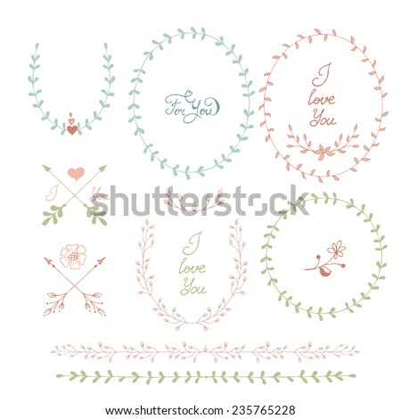 Cute frames hand drawn. Romantic floral design elements  #235765228