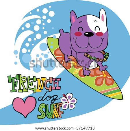 Cute french bulldog happy surfing ocean wave on surfboard with flower garland