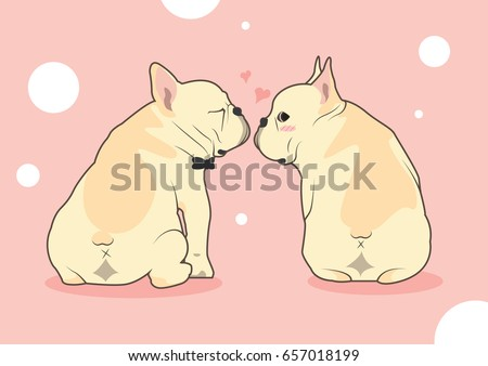 Cute French Bulldog Love Kissing Vector