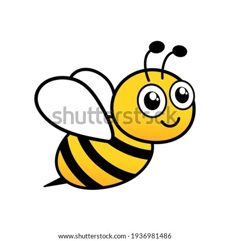 Cute friendly bee. Cartoon happy flying bee with big kind eyes. Insect character. Vector isolated on white