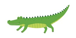 Cute friendly green crocodile with raised tail. Side view of happy smiling alligator isolated on white background. African wild gator. Childish colored flat cartoon vector illustration
