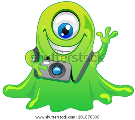 cute friendly green one eye slime alien monster cartoon character with photo camera. Cool for t-shirts.