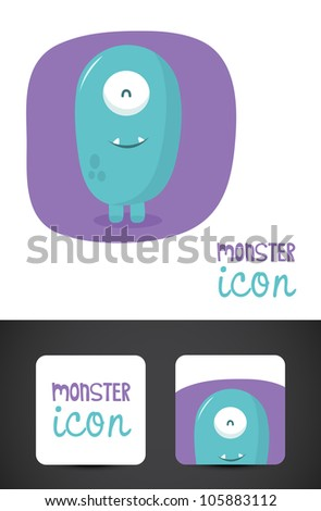 Cute, friendly monster icon such logo and stylized business cards, EPS10 vector.