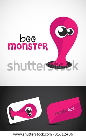 Cute, friendly monster icon such logo & stylized business cards, EPS10 vector,