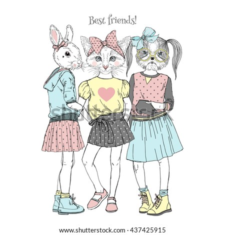 cute friends  furry art