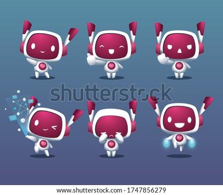 cute friendy white robot mascot set