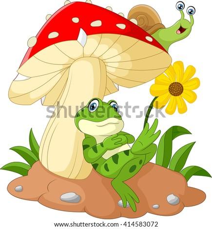 Cute frog and snail cartoon with mushroom