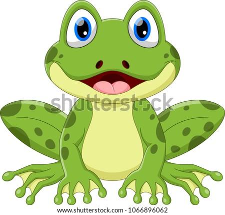 cute frog cartoon isolated on