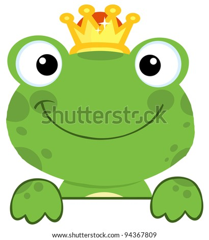 Cute Frog Prince Over A Sign Board Stock Vector 94367809 ...