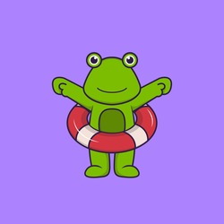 Cute frog using a float. Animal cartoon concept isolated. Can used for t-shirt, greeting card, invitation card or mascot.