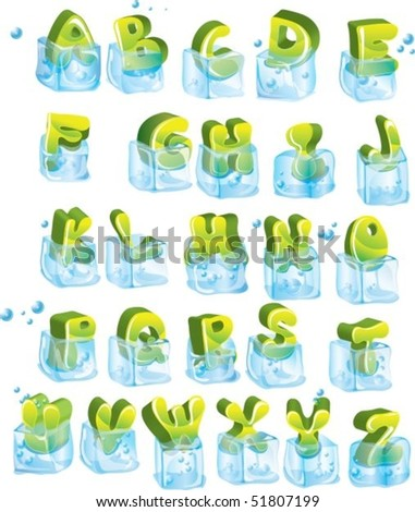Cute frozen glossy green alphabet in ice-cubes. Vector