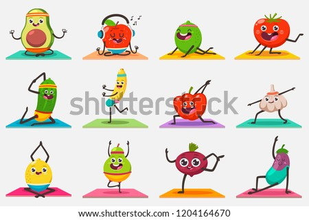 Cute fruit and vegetables doing yoga exercises and gymnastics poses. Funny vector cartoon kids food character set isolated on background. Eating healthy and fitness.