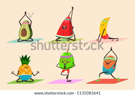 Cute Fruit And Vegetables Doing Yoga Poses Exercises Funny Vector Cartoon Food Character Set Isolated