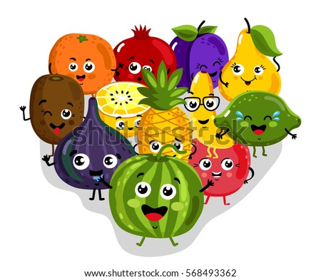 Cute fruit cartoon characters isolated vector illustration. Funny pineapple, orange, cherry, pomegranate, banana, kiwi, lemon, lime, watermelon, figs. Happy smile emoticon face, comical fruit mascot