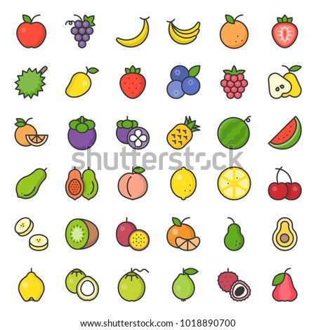 Cute fruit filled outline icon set, such as orange, kiwi, coconut, banana, papaya, peach, tropical fruits