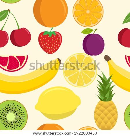 Cute fruit mix seamless pattern. Seamless background with various tropical fruits. Seamless pattern of fruits. Pineapple orange cherry banana lemon pomegranate plum kiwi strawberry lemon