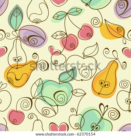Cute fruits seamless background