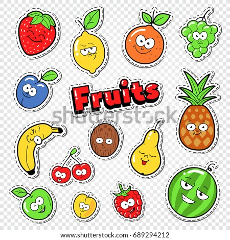 Cute Fruits Stickers, Badges and Patches. Funny Pineapple, Cherry and Lemon for Prints. Vector illustration