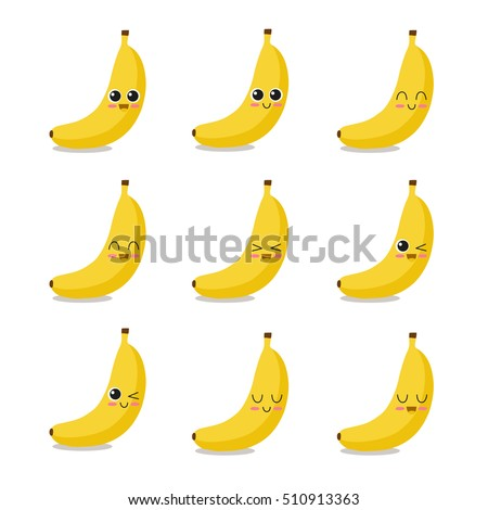 cute  funny and happy banana