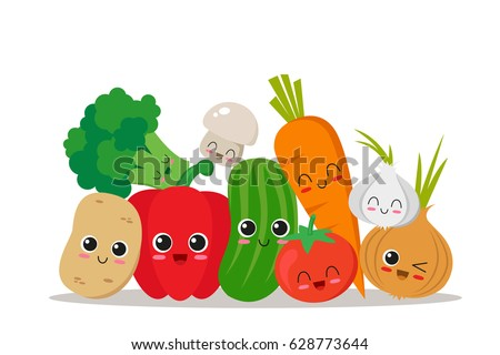 Cute, funny and happy vegetables. Character set. Vector illustration