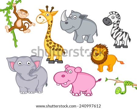 cute funny animals set