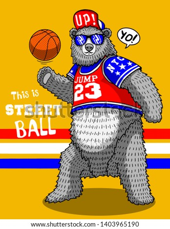cute funny bear basketball