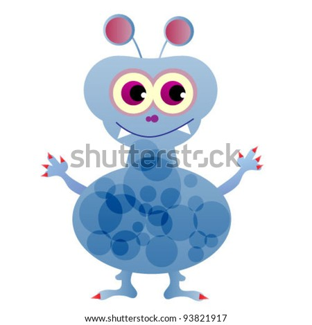 cute funny blue monster. vector illustration