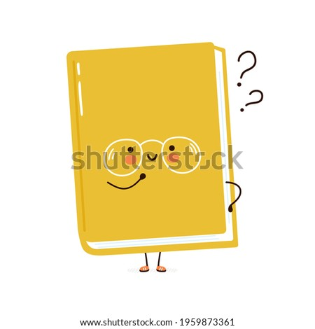Cute funny book character with question marks.Vector hand drawn cartoon kawaii character simple illustration icon.Isolated on white background. Book think,literature childish cartoon character concept