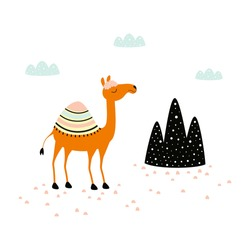 cute funny camel print on white background, african cartoon animal character for any design, flat colorful vector illustration