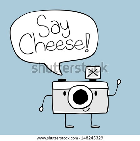 cute funny camera with say cheese text balloon, legs and arms hand drawn on solid color background easy to isolate ストックフォト ©