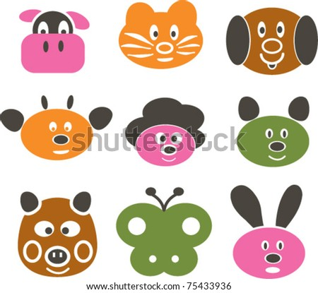 cute funny cartoon animals: cow, dog, cat, rabbit, pig, butterfly ...